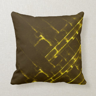 Rustic Brown Yellow Geometric Batik Weave Modern Throw Pillow