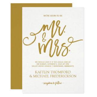 Rustic Brush Calligraphy Invitation | Gold