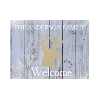 Rustic Buck Antlers Wood Personalized Door Mat