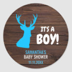 Rustic Buck Deer Boy Theme Baby Shower Envelope Classic Round Sticker