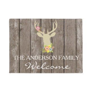 Rustic Buck Silhouette With Flowers  Door Mat