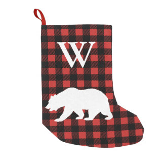 Rustic Buffalo Check Plaid & White Bear Small Christmas Stocking