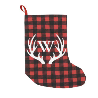 Rustic Buffalo Check Plaid & White Deer Antlers Small Christmas Stocking