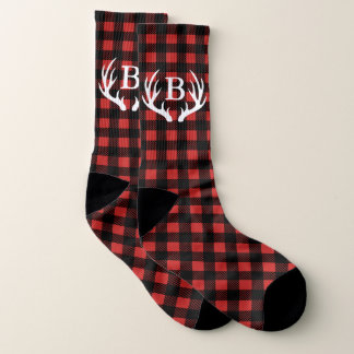 Rustic Buffalo Check Plaid & White Deer Antlers Socks