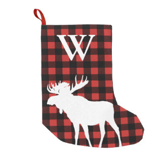 Rustic Buffalo Check Plaid & White Moose Small Christmas Stocking