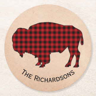 Rustic Buffalo Personalized Paper Coasters