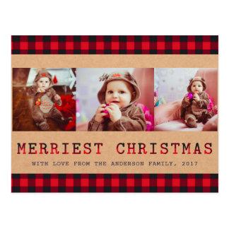 Rustic Buffalo Plaid | 3 Photo Christmas Greeting Postcard