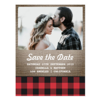 Rustic Buffalo Plaid & Burlap Photo Save the Date Postcard