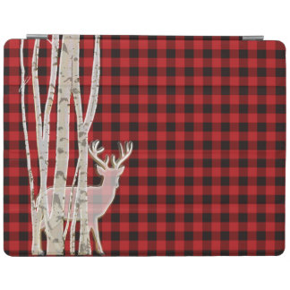 Rustic Buffalo Plaid Deer and Birch Smart Cover iPad Cover