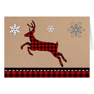 Rustic Buffalo Plaid Deer Christmas Card