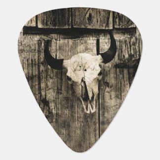 Rustic buffalo skull with horns against barn guitar pick