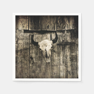 Rustic buffalo skull with horns on a barn disposable napkin