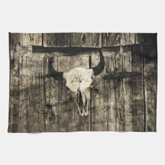 Rustic buffalo skull with horns on a barn kitchen towel