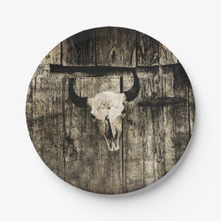 Rustic buffalo skull with horns on a barn paper plate