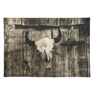 Rustic buffalo skull with horns on a barn placemat
