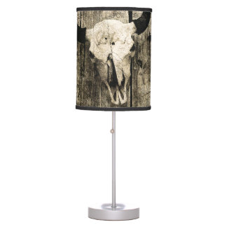 Rustic buffalo skull with horns on a barn table lamp