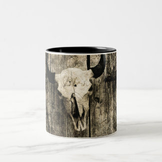Rustic buffalo skull with horns on a barn Two-Tone coffee mug
