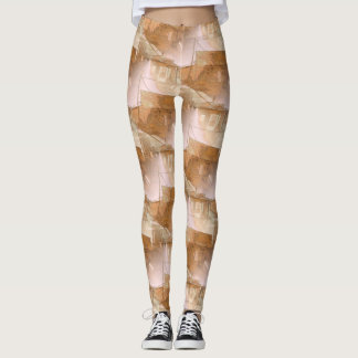 Rustic Building Patterned Leggings