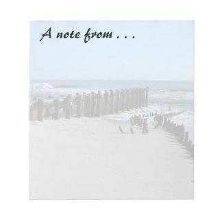 Rustic Bulkhead on Beach Notepad