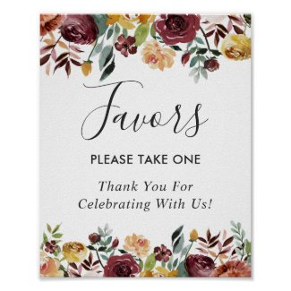 Rustic Burgundy Bloom Floral Wedding Favours Sign