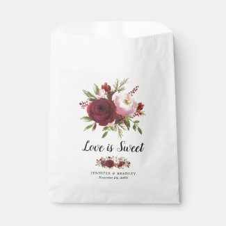 Rustic Burgundy Blush Flowers Wedding Candy Favour Bag