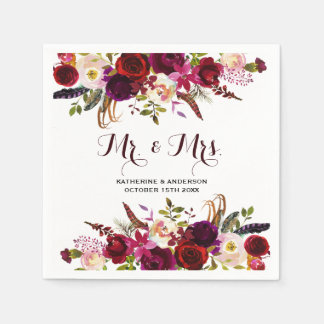 Rustic Burgundy Chic Floral Mr and Mrs Wedding Paper Napkin