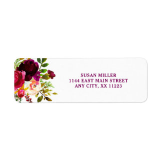 Rustic Burgundy Floral return address label 3979