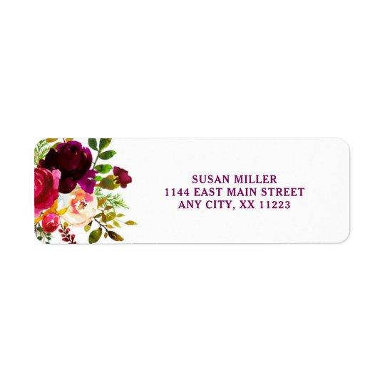 Rustic Burgundy Floral return address label 3979