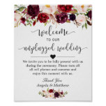 Rustic Burgundy Floral Unplugged Wedding Sign