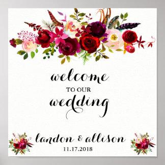 Rustic Burgundy Floral Watercolor Wedding Sign
