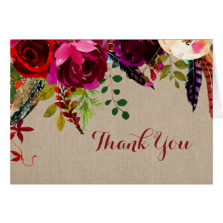Rustic Burgundy Floral Wedding Thank you note 3979 Card