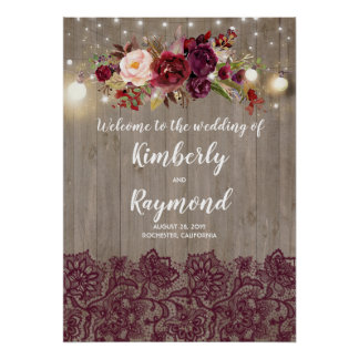 Rustic Burgundy Floral Wedding Welcome Sign