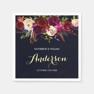 Rustic Burgundy Marsala Navy Floral Wedding Disposable Napkins
