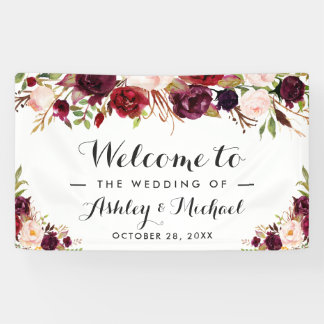Rustic Burgundy Red Chic Floral Wedding Party Banner