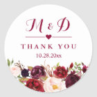 Rustic Burgundy Red  Floral Monogram Wedding Classic Round Sticker