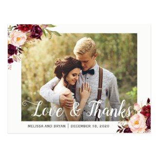 Rustic Burgundy Red Floral Wedding Photo Thank You Postcard