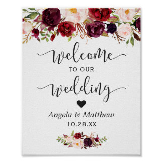 Rustic Burgundy Red Floral Welcome Wedding Sign