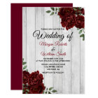 Rustic Burgundy Rose Romantic Wedding Invitation