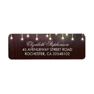 Rustic Burgundy Wood and String Lights Return Address Label