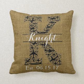 """Rustic Burlap Airplane Split Monogram """"K"""" Throw Pillow"""