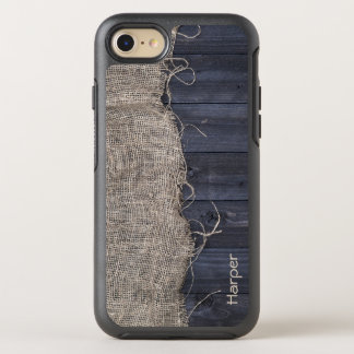 Rustic Burlap and Barn Wood with Your Name OtterBox Symmetry iPhone 8/7 Case