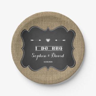 Rustic Burlap and Chalkboard I DO BBQ Custom 7 Inch Paper Plate