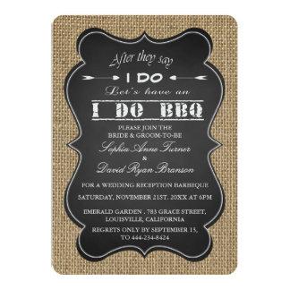 Rustic Burlap and Chalkboard I DO BBQ Custom Card
