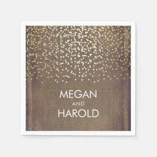Rustic Burlap and Gold Confetti Wedding Paper Napkin