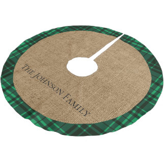 Rustic Burlap and Green Plaid Brushed Polyester Tree Skirt