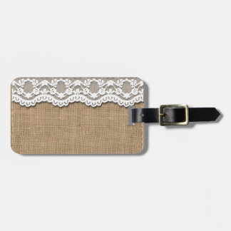Rustic Burlap and Lace Luggage Tag