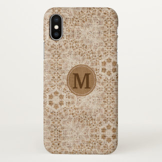 Rustic Burlap and Lace, Monogrammed iPhone X Case
