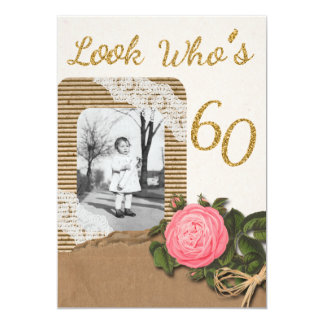 "Rustic Burlap and Lace Rose 60th Birthday Invit 5"" X 7"" Invitation Card"