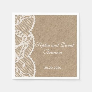Rustic Burlap and Lace Wedding Custom Paper Napkins