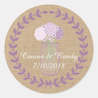 Rustic Burlap and Purple Mason Jar Flowers Wedding Classic Round Sticker